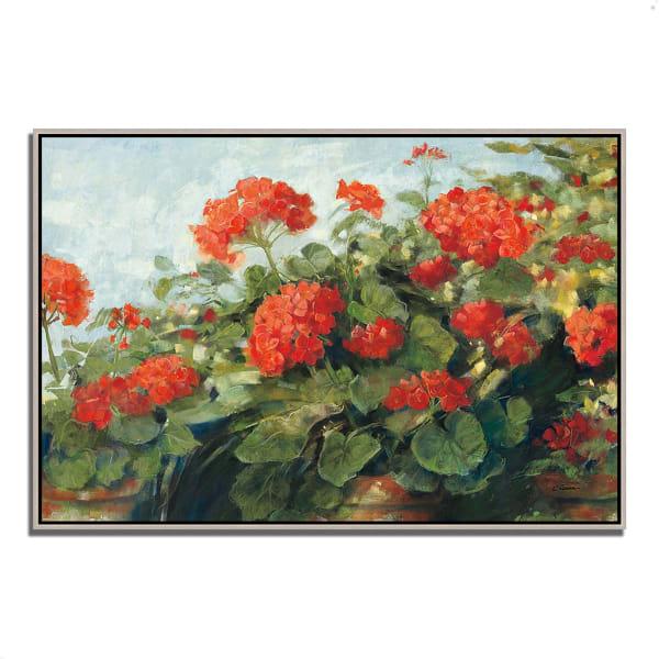 Fine Art Giclee Print on Gallery Wrap Canvas 47 In. x 32 In. Geranium Wave by Carol Rowan Multi Color
