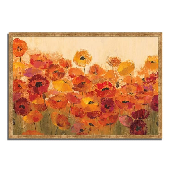 Framed Painting Print 38 In. x 26 In. Summer Poppies by Silvia Vassileva Multi Color