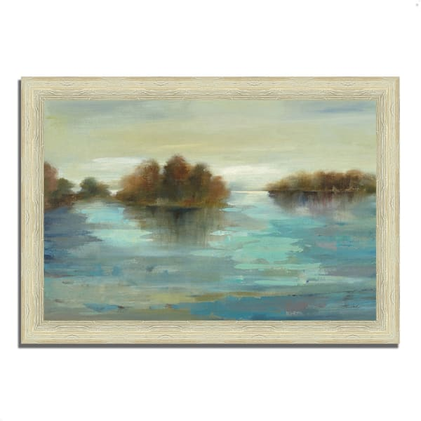 Framed Painting Print 36 In. x 26 In. Serenity on the River by Silvia Vassileva Multi Color