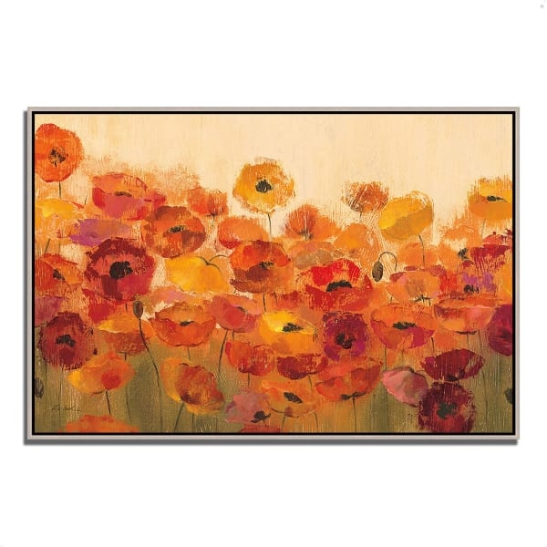 Fine Art Giclee Print on Gallery Wrap Canvas 38 In. x 26 In. Summer Poppies by Silvia Vassileva Multi Color