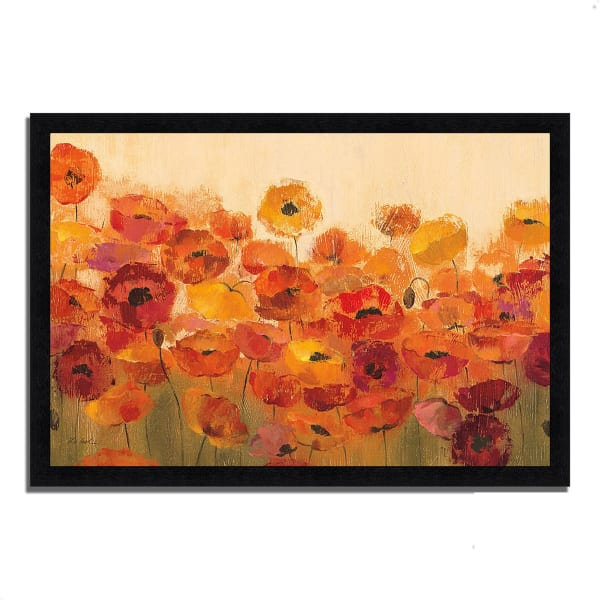 Framed Painting Print 60 In. x 41 In. Summer Poppies by Silvia Vassileva Multi Color