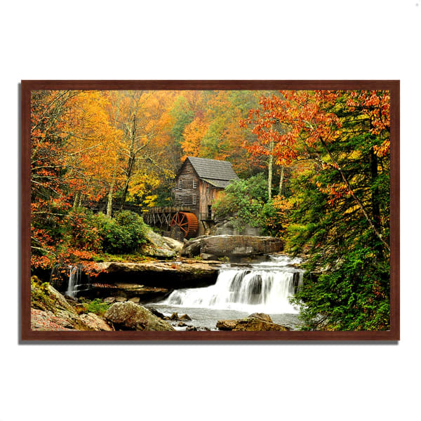 Framed Photograph Print 47 In. x 32 In. The Old Mill Multi Color