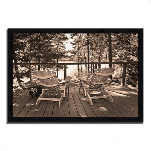 Framed Photograph Print 39 In. x 27 In. At The Lake Multi Color