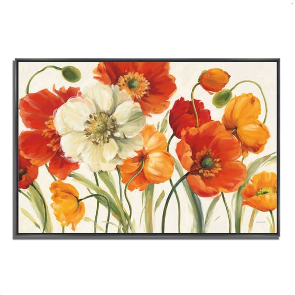 Fine Art Giclee Print on Gallery Wrap Canvas 59 In. x 40 In. Poppies Melody I by Lisa Audit Multi Color