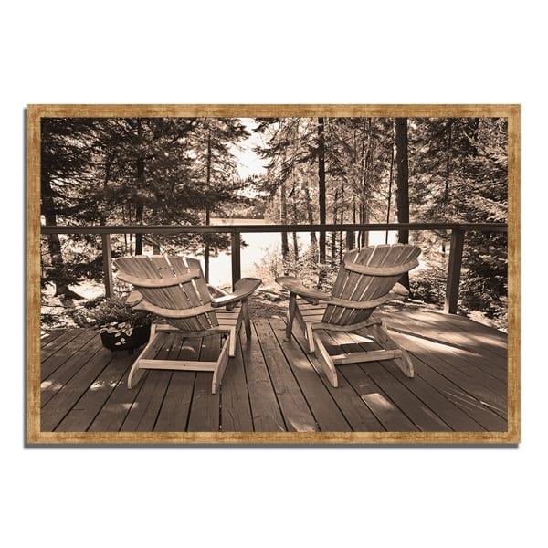 Framed Photograph Print 38 In. x 26 In. At The Lake Multi Color