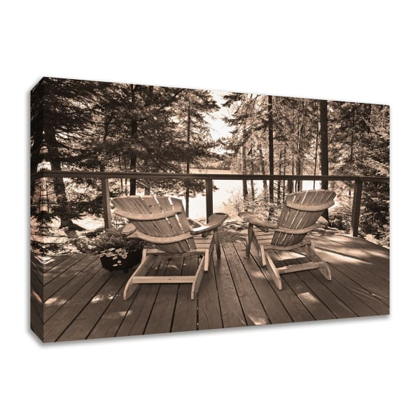 Fine Art Giclee Print on Gallery Wrap Canvas 57 In. x 38 In. At The Lake Multi Color