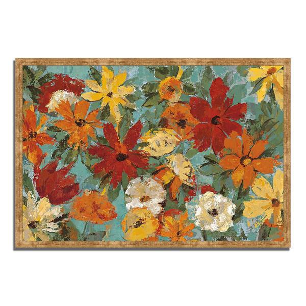 Framed Painting Print 32 In. x 22 In. Bright Expressive Garden by Silvia Vassileva Multi Color