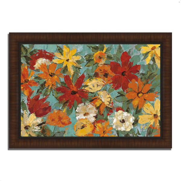 Framed Painting Print 51 In. x 36 In. Bright Expressive Garden by Silvia Vassileva Multi Color