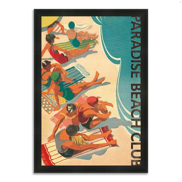 Framed Painting Print 41 In. x 60 In. Paradise Beach Club by Wild Apple Portfolio Multi Color