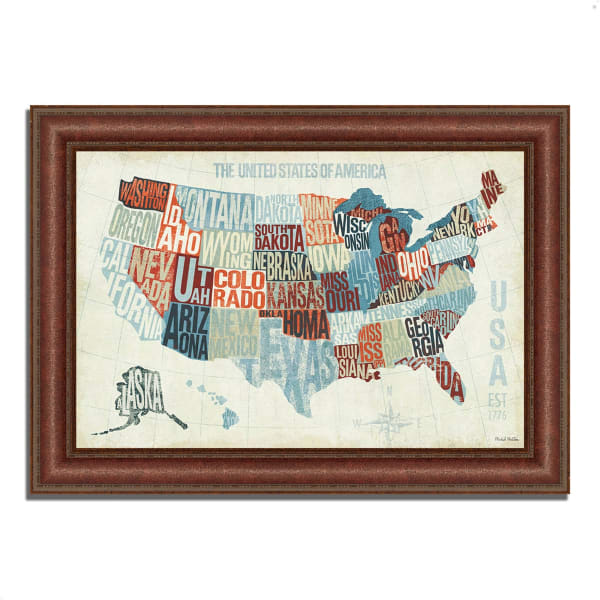 Framed Painting Print 52 In. x 37 In. USA Modern Blue by Michael Mullan Multi Color