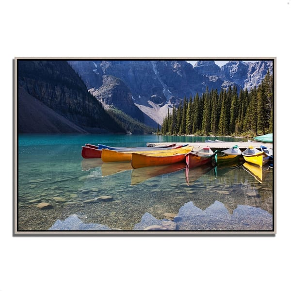 Fine Art Giclee Print on Gallery Wrap Canvas 38 In. x 26 In. Lake Moraine Multi Color
