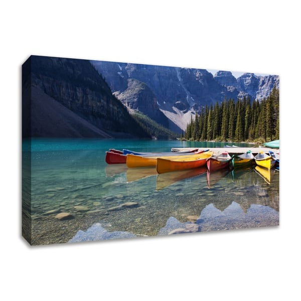 Fine Art Giclee Print on Gallery Wrap Canvas 45 In. x 30 In. Lake Moraine Multi Color