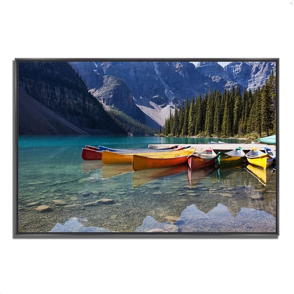 Fine Art Giclee Print on Gallery Wrap Canvas 59 In. x 40 In. Lake Moraine Multi Color