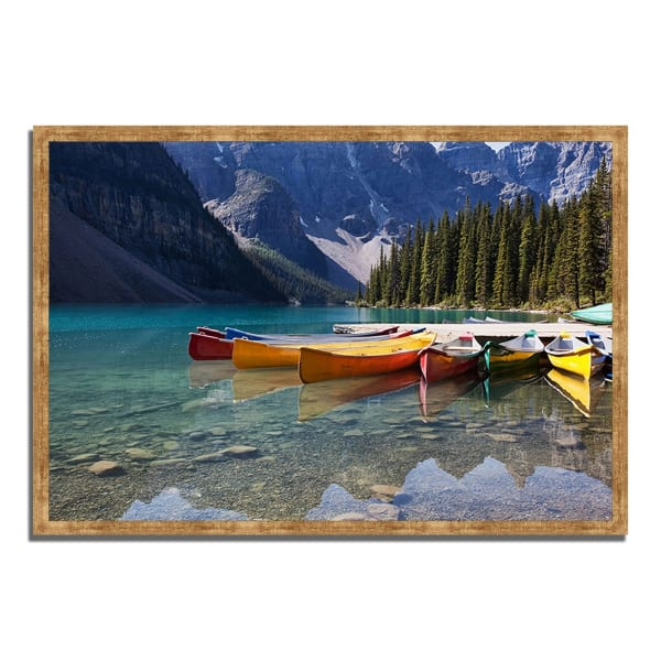 Framed Photograph Print 47 In. x 32 In. Lake Moraine Multi Color