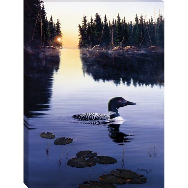 Fine Art Giclee Print on Gallery Wrap Canvas 30 In. x 40 In. Last Light Loon By Derk Hansen Blue