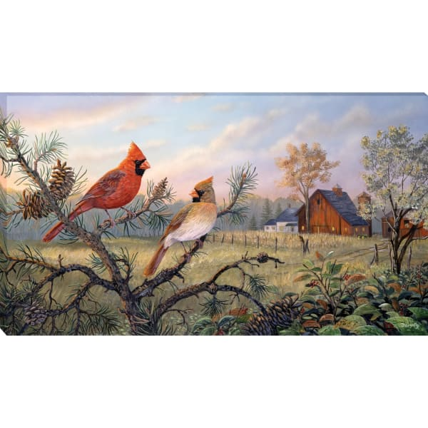 Fine Art Giclee Print on Gallery Wrap Canvas 44 In. x 25 In. Meadow Retreat By Terry Doughty Brown and Red