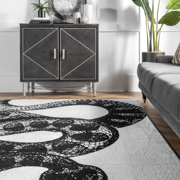 Thomas Paul Power loomed Serpent 8' x 10' Black and White Rug
