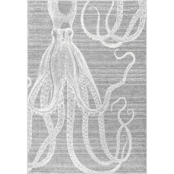 Thomas Paul Power loomed Octopus 5' x 8' Gray Rug