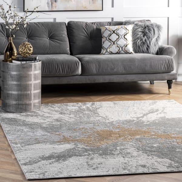 Contemporary Abstract Cyn 5' x 8' Silver Rug