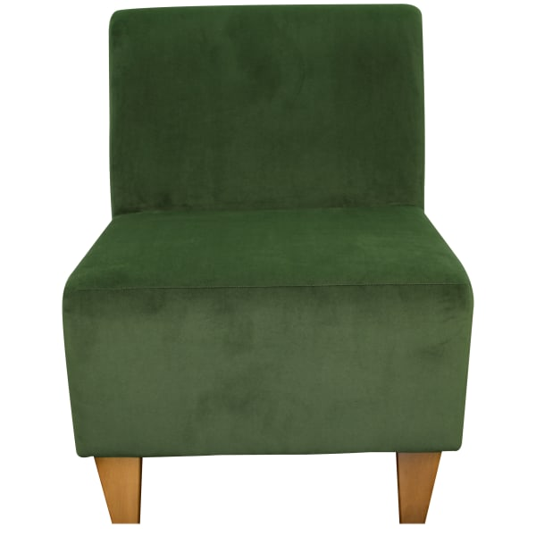 Microfiber Forest Green Armless Slipper Chair
