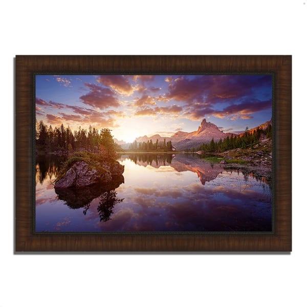 Framed Photograph Print 36 In. x 26 In. Sunrise On Lago Di Federa Multi Color