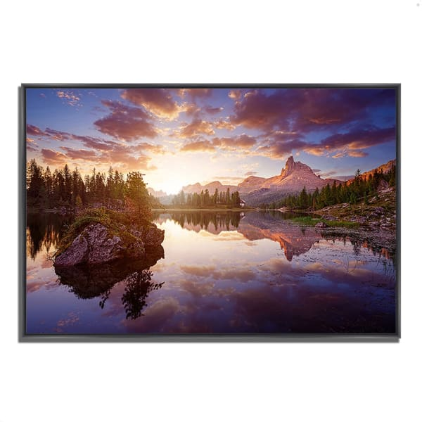 Fine Art Giclee Print on Gallery Wrap Canvas 38 In. x 26 In. Sunrise On Lago Di Federa Multi Color