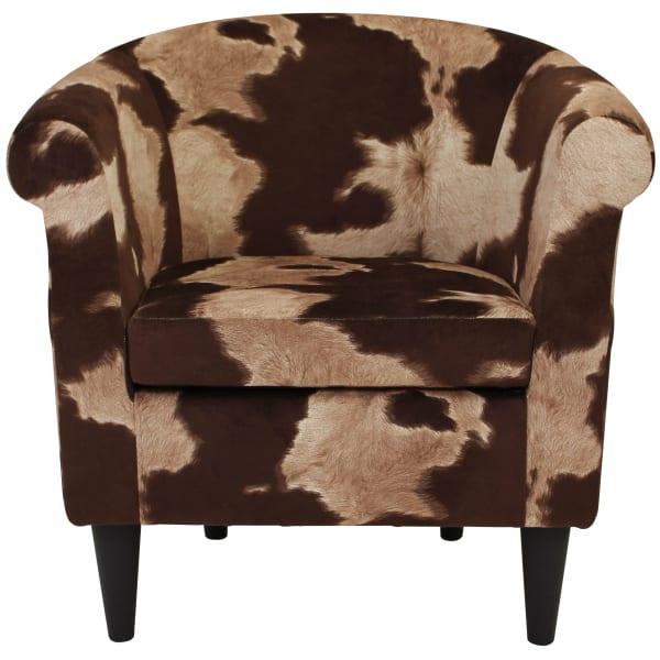 Brown & Cream Cowhide Club Chair