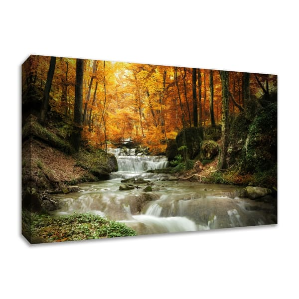 Fine Art Giclee Print on Gallery Wrap Canvas 30 In. x 20 In. Autumn Stream Multi Color