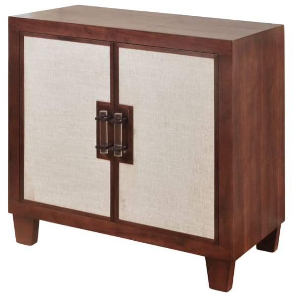 Natural Walnut & Beige Linen Cabinet