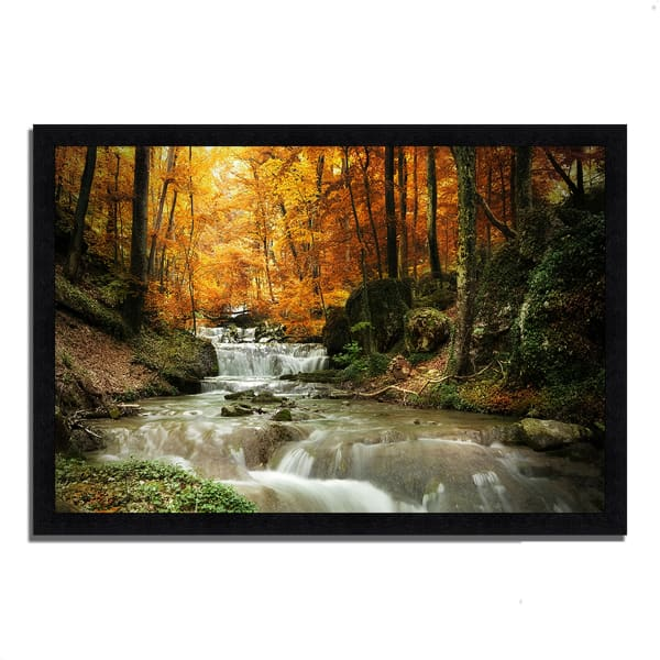 Framed Photograph Print 46 In. x 33 In. Autumn Stream Multi Color