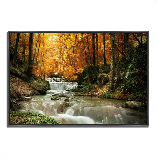 Fine Art Giclee Print on Gallery Wrap Canvas 38 In. x 26 In. Autumn Stream Multi Color