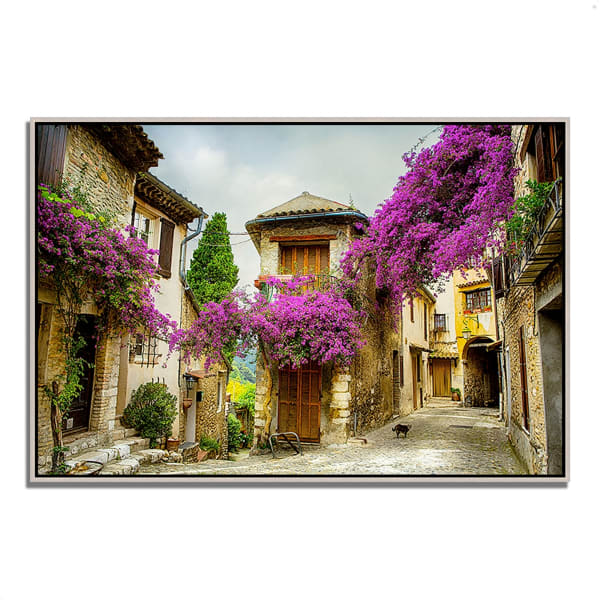 Fine Art Giclee Print on Gallery Wrap Canvas 32 In. x 22 In. Bougainvillea Lane Multi Color