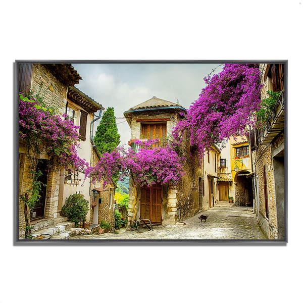 Fine Art Giclee Print on Gallery Wrap Canvas 38 In. x 26 In. Bougainvillea Lane Multi Color