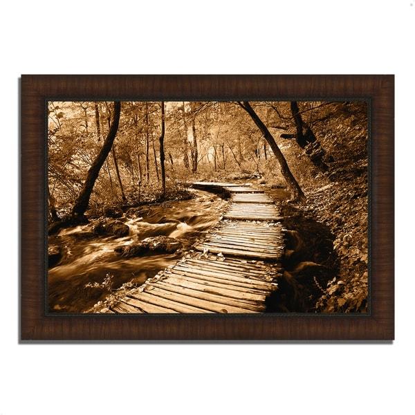 Framed Photograph Print 36 In. x 26 In. Creekside Walk II Multi Color