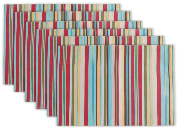 Reversible Summer Striped Placemats Set of 6