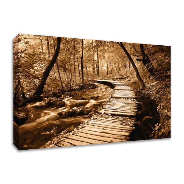 Fine Art Giclee Print on Gallery Wrap Canvas 57 In. x 38 In. Creekside Walk II Multi Color