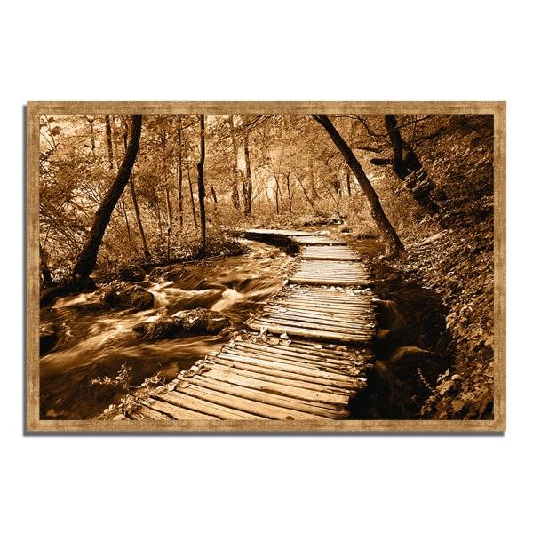 Framed Photograph Print 47 In. x 32 In. Creekside Walk II Multi Color