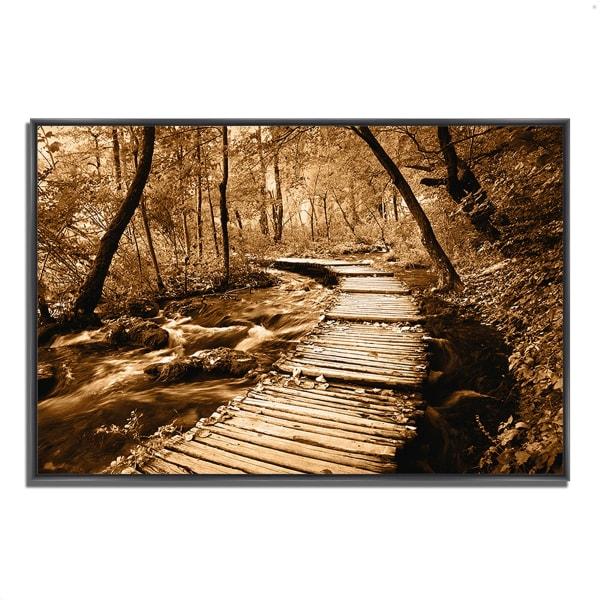Fine Art Giclee Print on Gallery Wrap Canvas 59 In. x 40 In. Creekside Walk II Multi Color