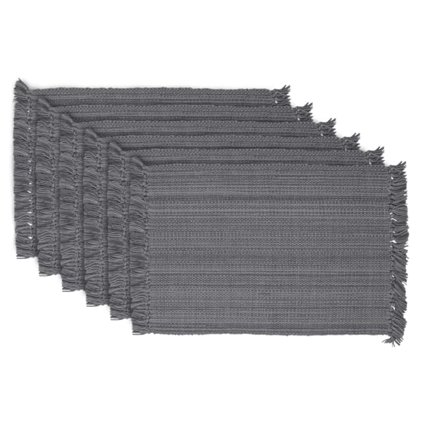 Gray Placemats with Fringe Set of 6