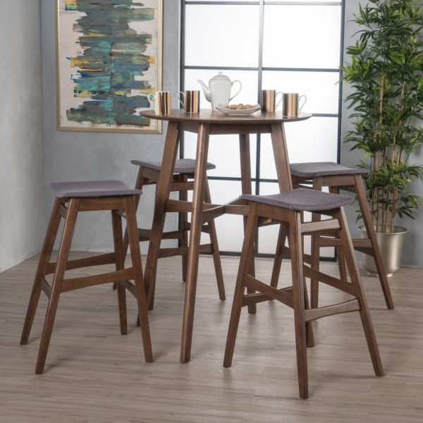 Walnut & Dark Gray Circular 5-Piece Bar Height Dining Set