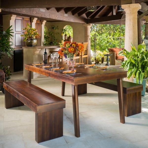 Acacia Wood Table & Bench Dining Set