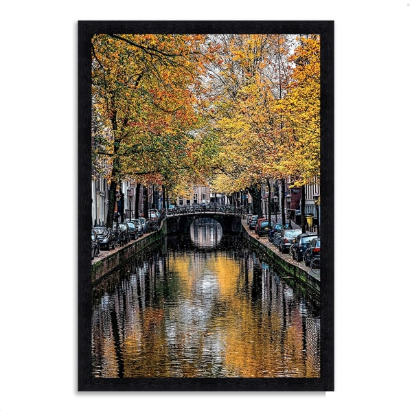 Framed Photograph Print 33 In. x 46 In. Canal Reflections Multi Color