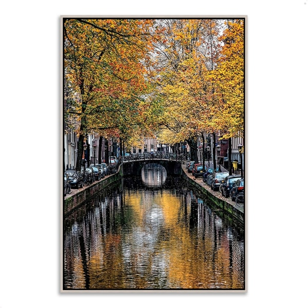 Fine Art Giclee Print on Gallery Wrap Canvas 32 In. x 47 In. Canal Reflections Multi Color