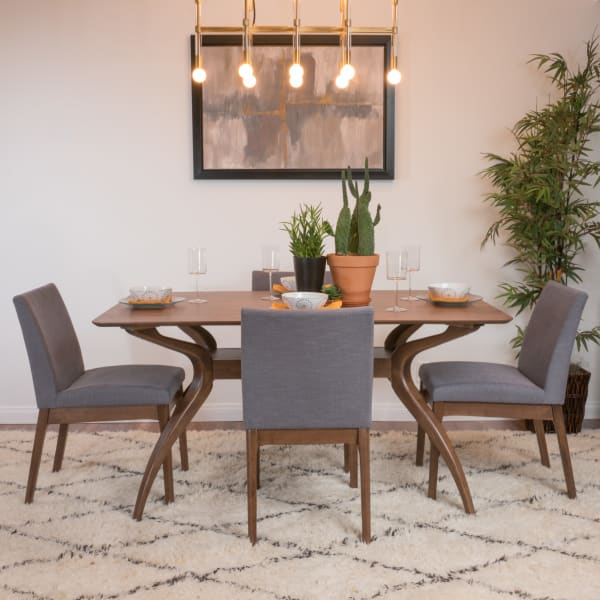 Gray Curved Leg 5-Piece Dining Set