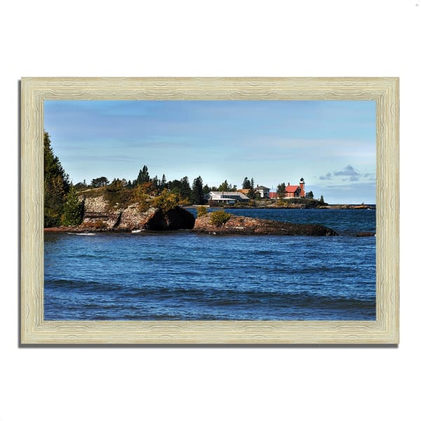 Framed Photograph Print 42 In. x 30 In. Eagle Harbor Lighthouse Multi Color