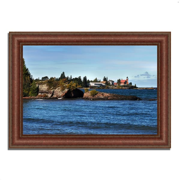 Framed Photograph Print 37 In. x 27 In. Eagle Harbor Lighthouse Multi Color