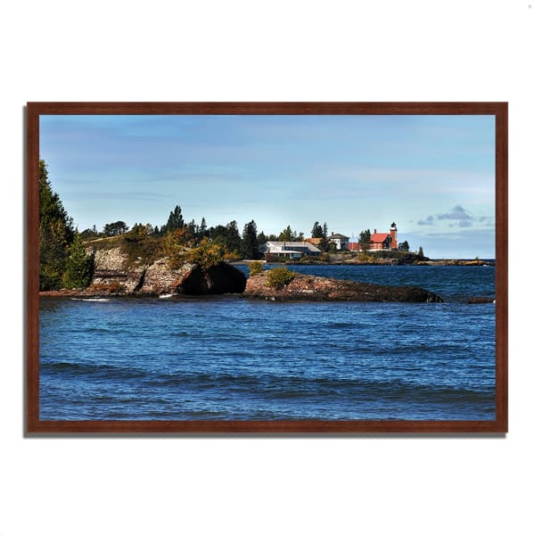 Framed Photograph Print 32 In. x 22 In. Eagle Harbor Lighthouse Multi Color