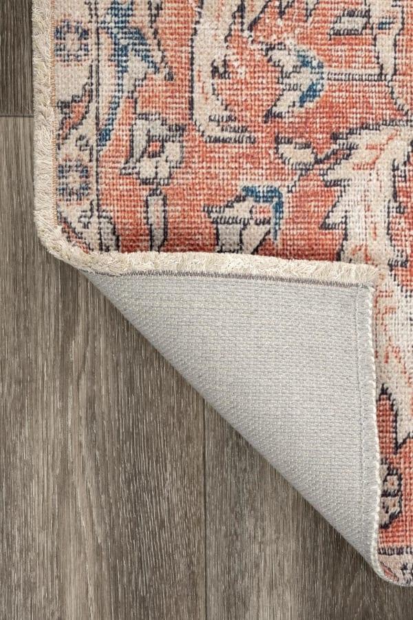 Sariyah Printed Floral Flatweave 8' x 10' Rust Cotton Rug