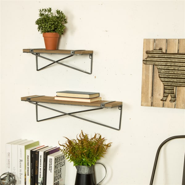 2-Piece Rustic Farmhouse Metal Wooden Wall Shelf Set