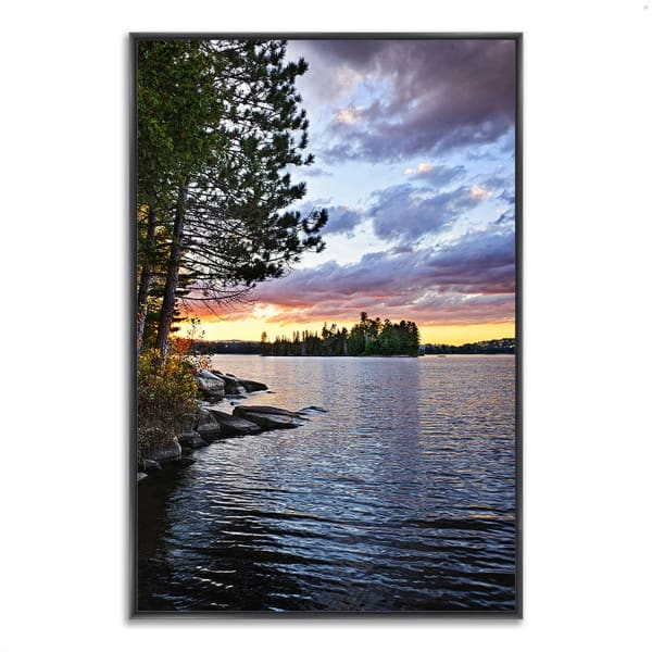 Fine Art Giclee Print on Gallery Wrap Canvas 32 In. x 47 In. Lake of the Two Rivers Multi Color